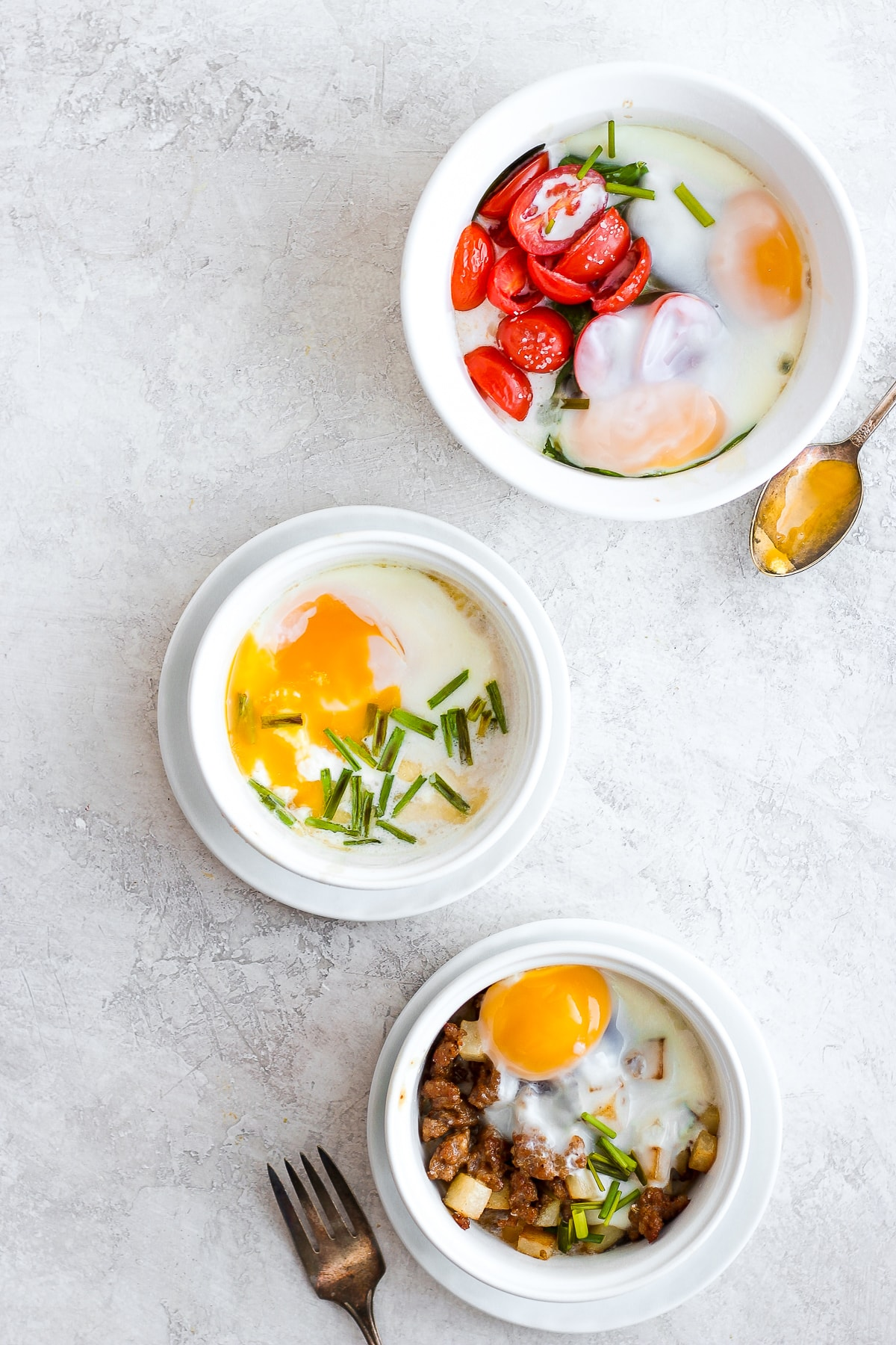 Baked Eggs Three Ways - a simple and delicious breakfast three yummy ways! #dairyfree #bakedeggs #breakfast #healthybreakfast #whole30 #paleo