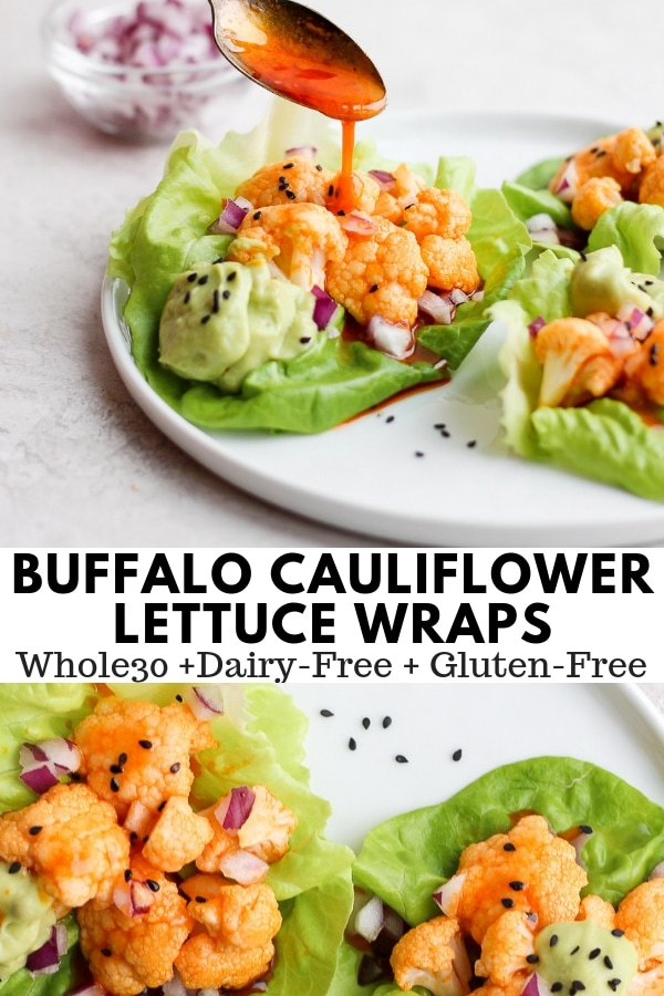 Simple Cauliflower Buffalo Bite Lettuce Wraps with Avocado Crema - a delicious and easy weeknight dinner that everyone will love! #whole30recipes #whole30 #paleo #easyweeknight #lettucewraps #dairyfreerecipes #buffalochicken