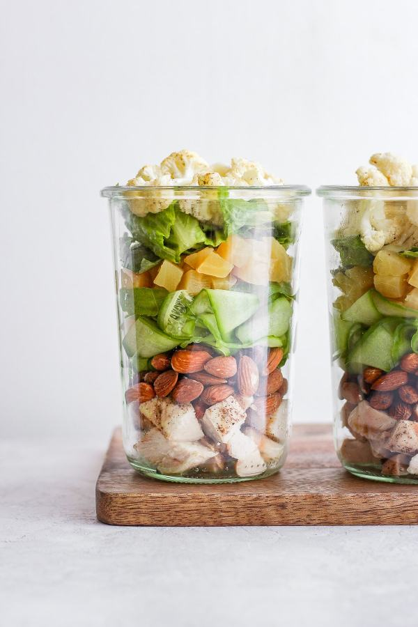 Paleo Roasted Cauliflower Mason Jar Salad