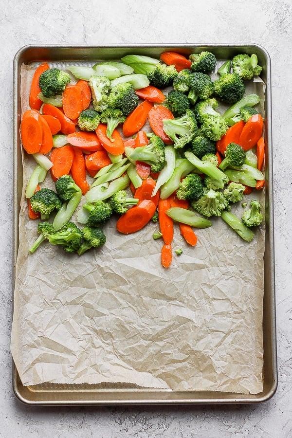 Sheet pan vegetables.