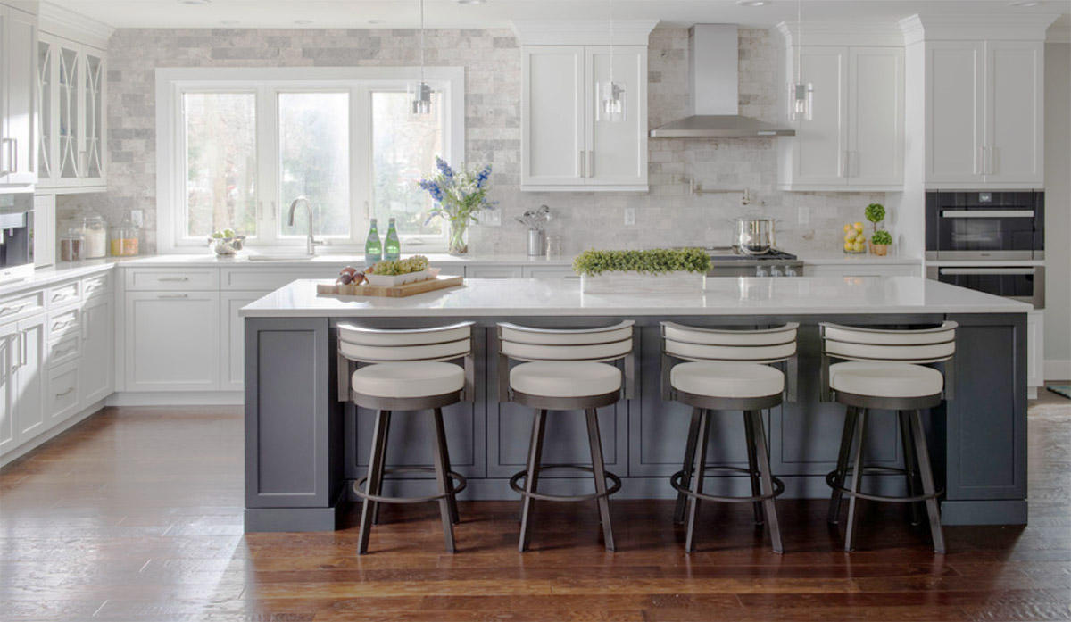 grey kitchen island clogged drain steel thewoodloorsource com shaker cabinets