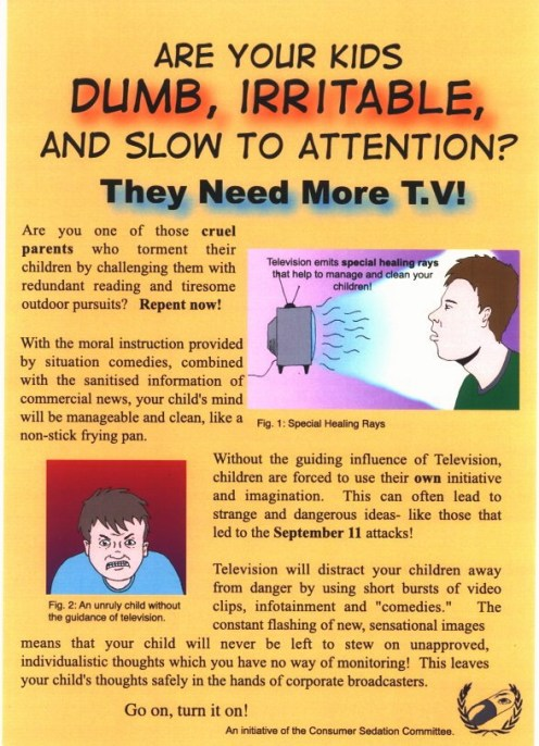 'More TV' leaflet by Bernie Slater, 2004.