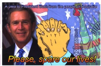 'Please spare our lives' postcard (front), by Bernie Slater, 2004.