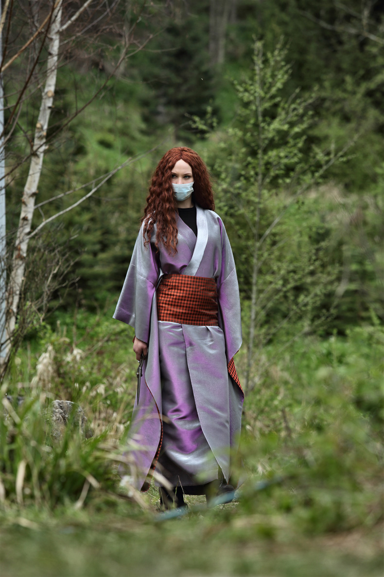 Magical characters in the woods: the user encounters in the forest of the beautiful and eerie Kuchisake Onna, played by model Sira Topic (Polder ARG in Sils Maria).