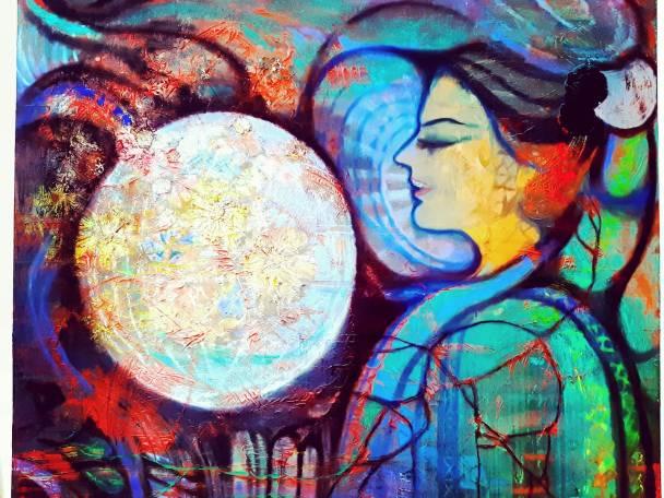 Brindarica Bose, Frau-Moon, 2m x 1.5m, Acrylic