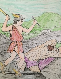 """Hermes lulls Argus to sleep and slays him as a favor to Zeus. Photo from """"Greek Gods and Goddesses"""". Dover Coloring Books, Dover Publications, Inc."""