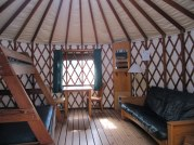 Inside our yurt at Nehalem Bay