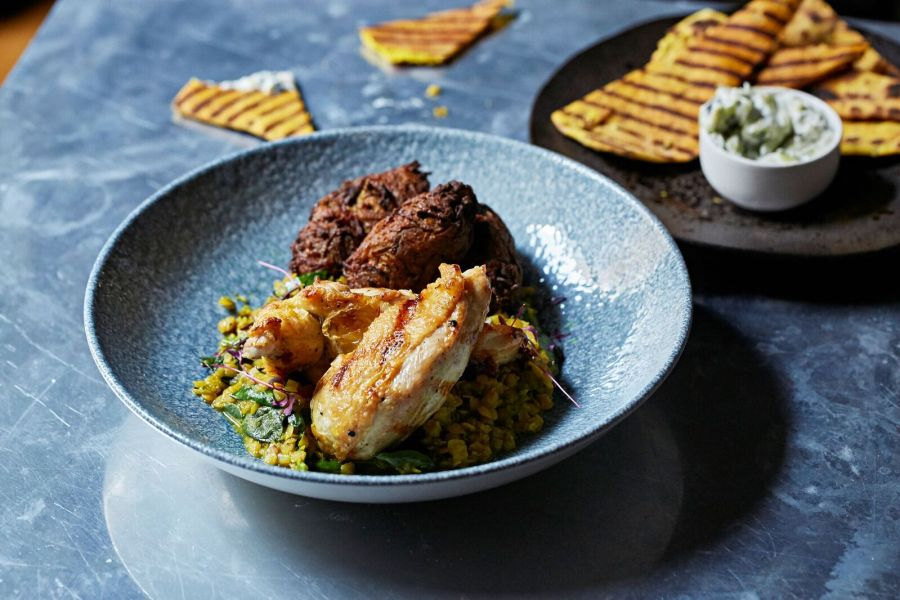 Pomona's - chicken, lentils, pakora 2, Steven Joyce photo credit_preview