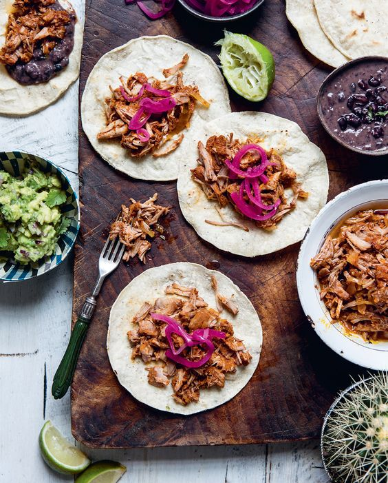 Rosie Birkett's Mexican Pork Tacos With Pink Pickled Onion