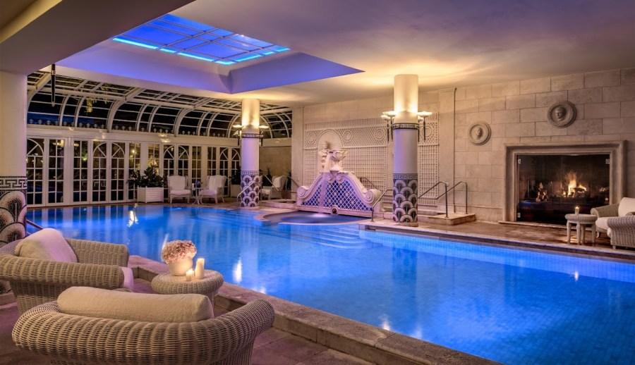 Indoor pool nightime