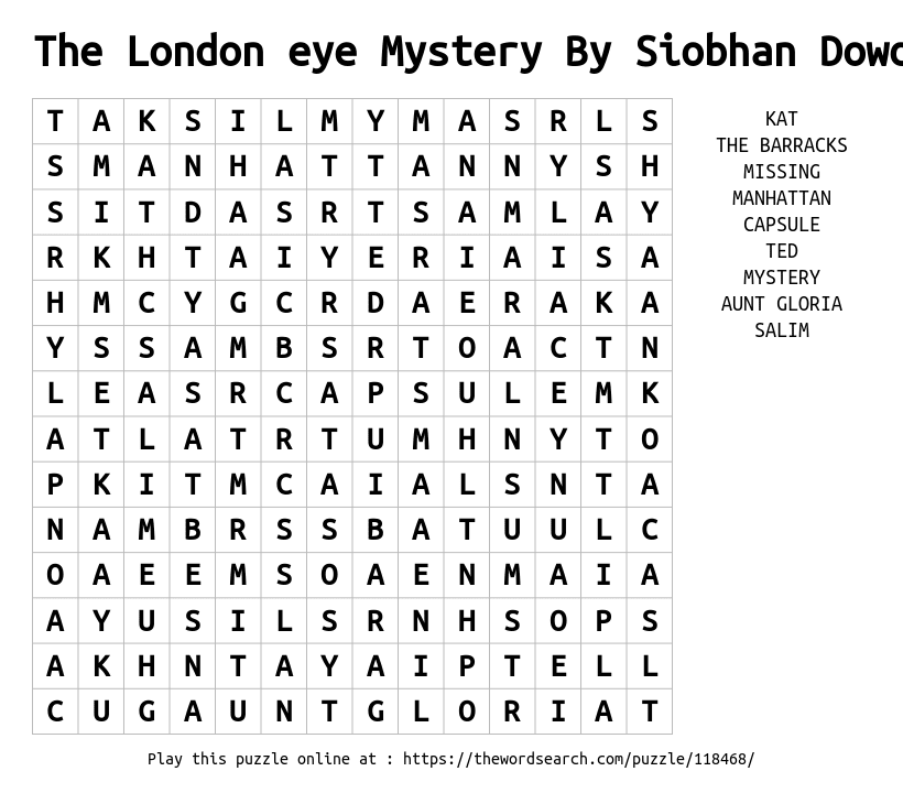 The London eye Mystery By Siobhan Dowd Word Search