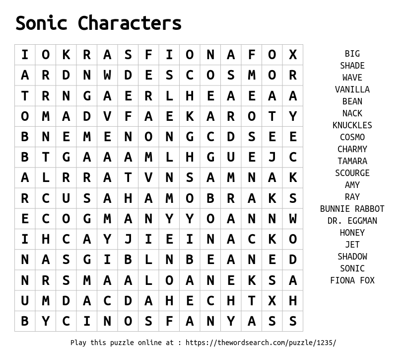 Sonic Characters Word Search