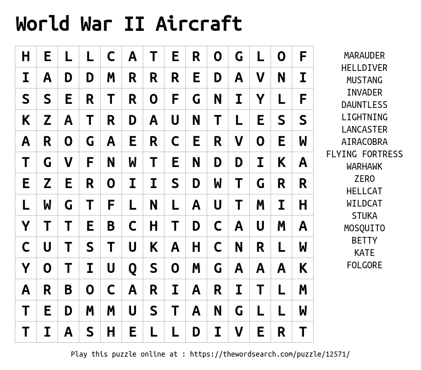 Download Word Search on World War II Aircraft