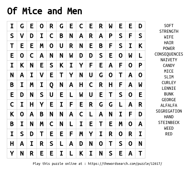 Download Word Search on Of Mice and Men