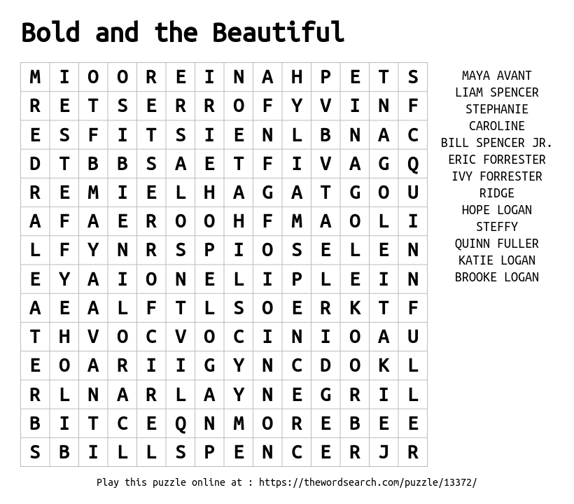 Download Word Search on Bold and the Beautiful