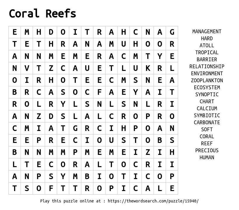 Download Word Search on Coral Reefs