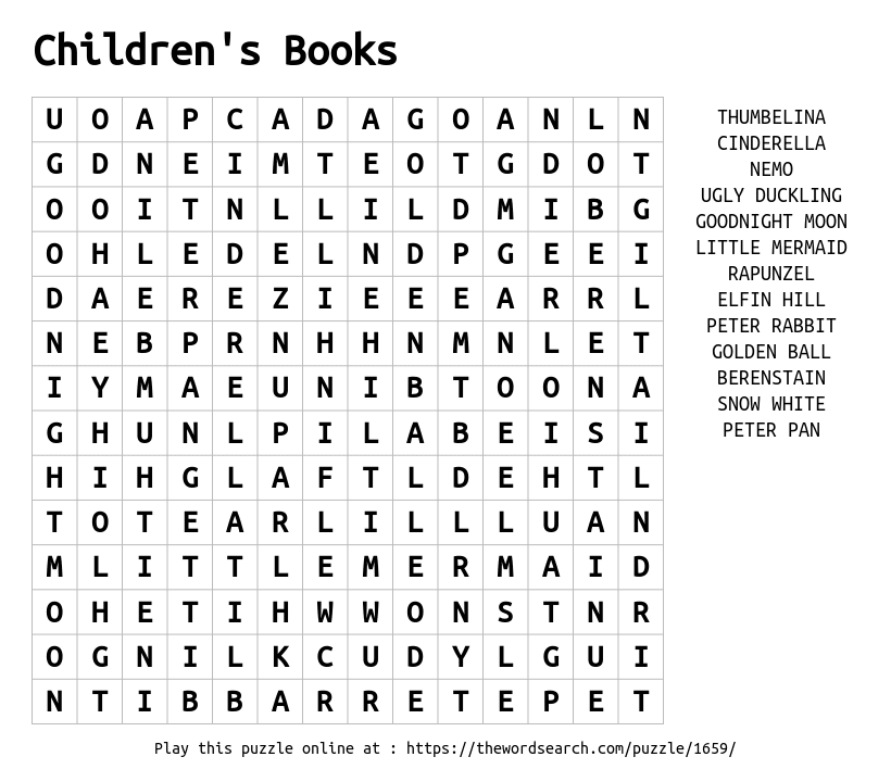 Download Word Search on Children's Books