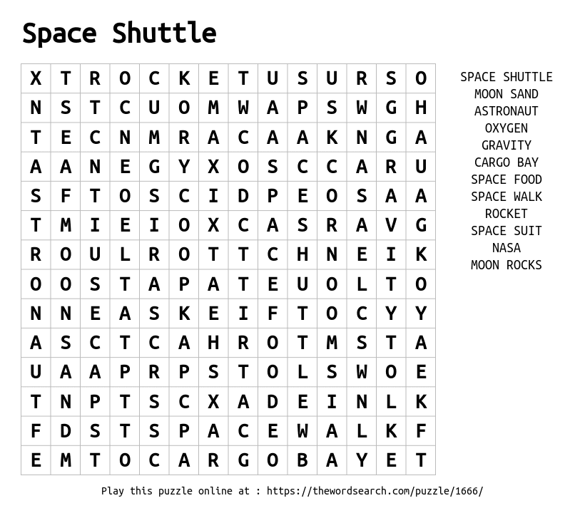 Download Word Search on Space Shuttle
