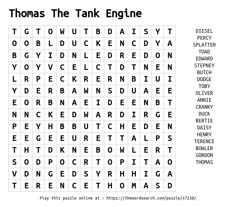 Download Word Search On Thomas The Tank Engine