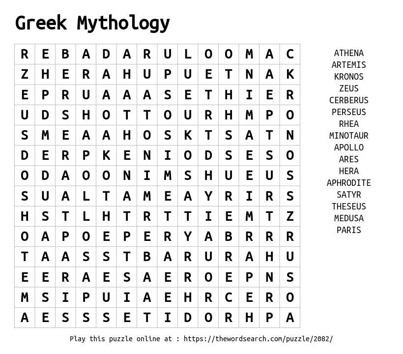 Download Word Search on Greek Mythology