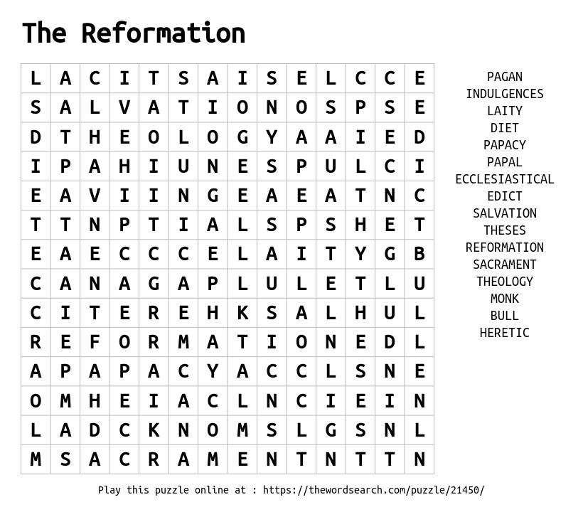 Download Word Search on The Reformation