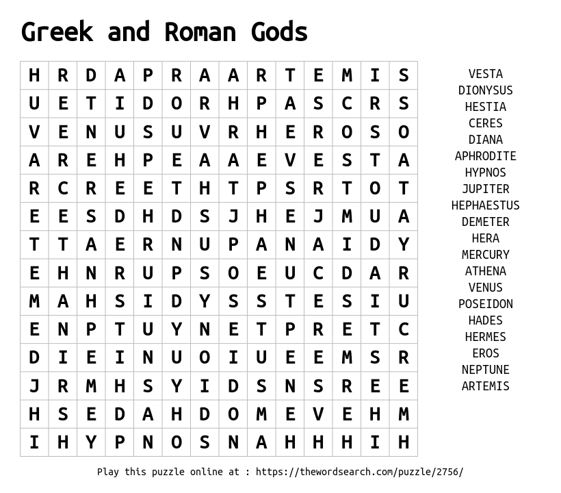 Download Word Search on Greek and Roman Gods