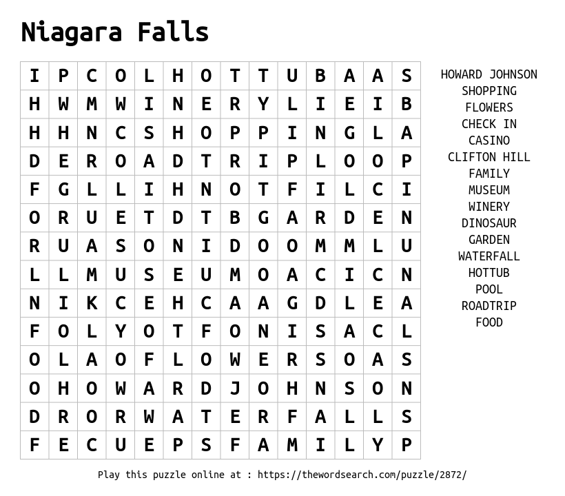 Download Word Search on Niagara Falls
