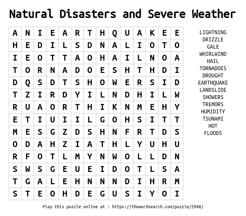 Natural Disasters and Severe Weather Word Search