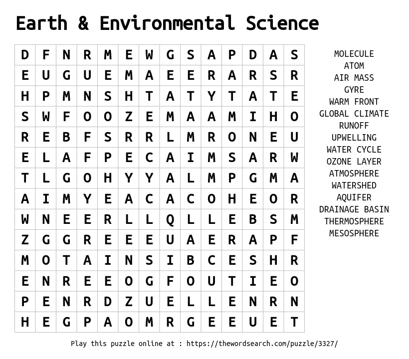 Download Word Search on Earth & Environmental Science