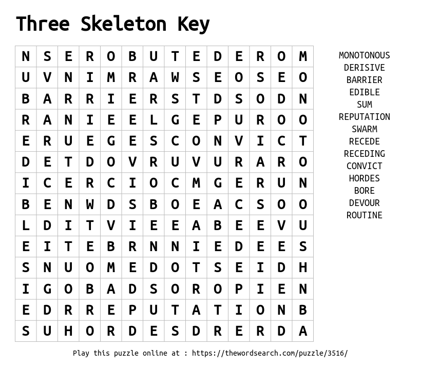 Download Word Search on Three Skeleton Key