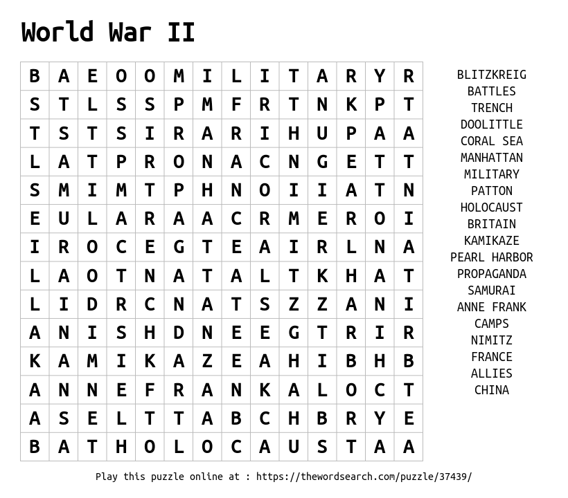 Download Word Search on World War II