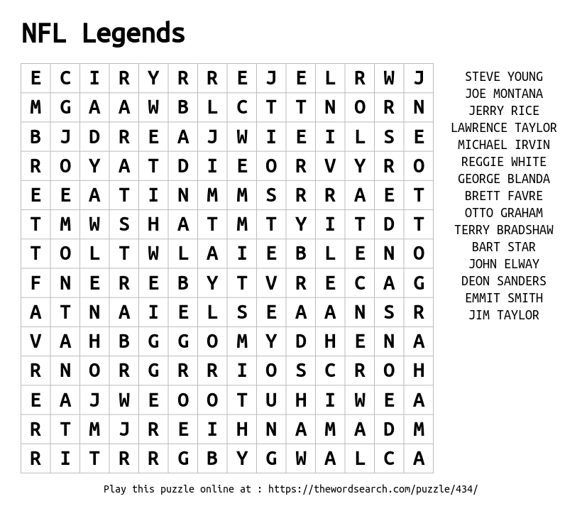 Download Word Search on NFL Legends