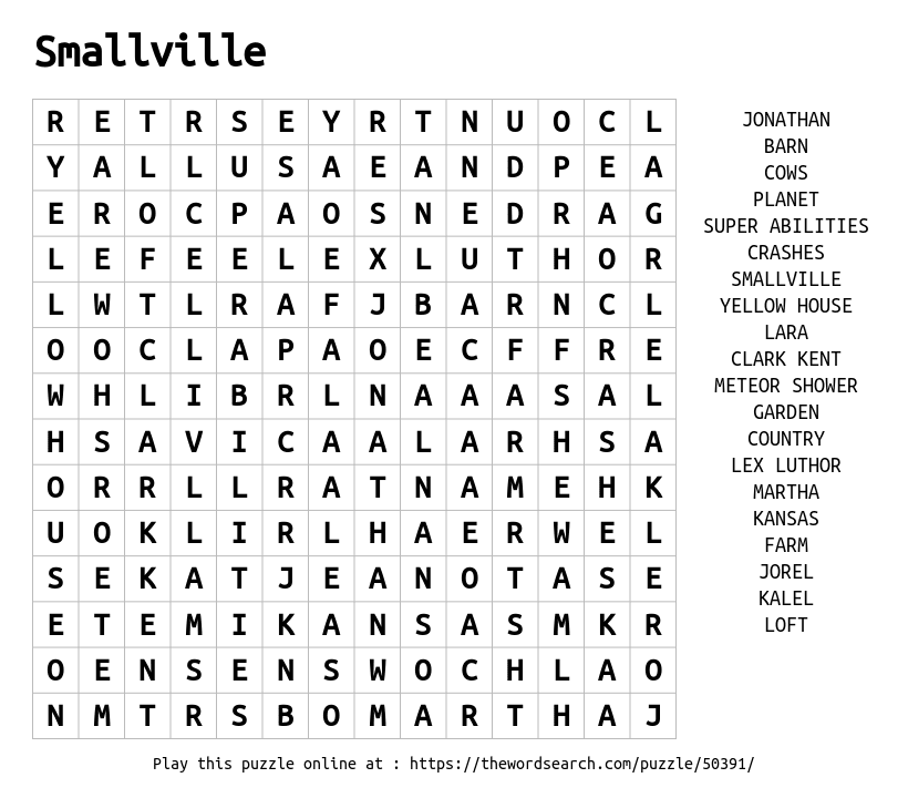 Download Word Search on Smallville