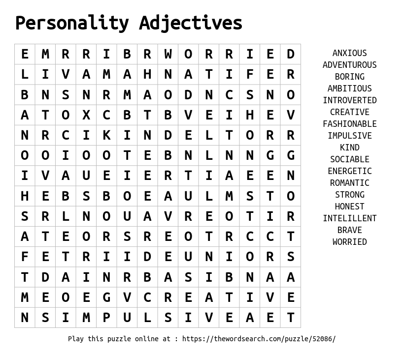 Download Word Search on Personality Adjectives