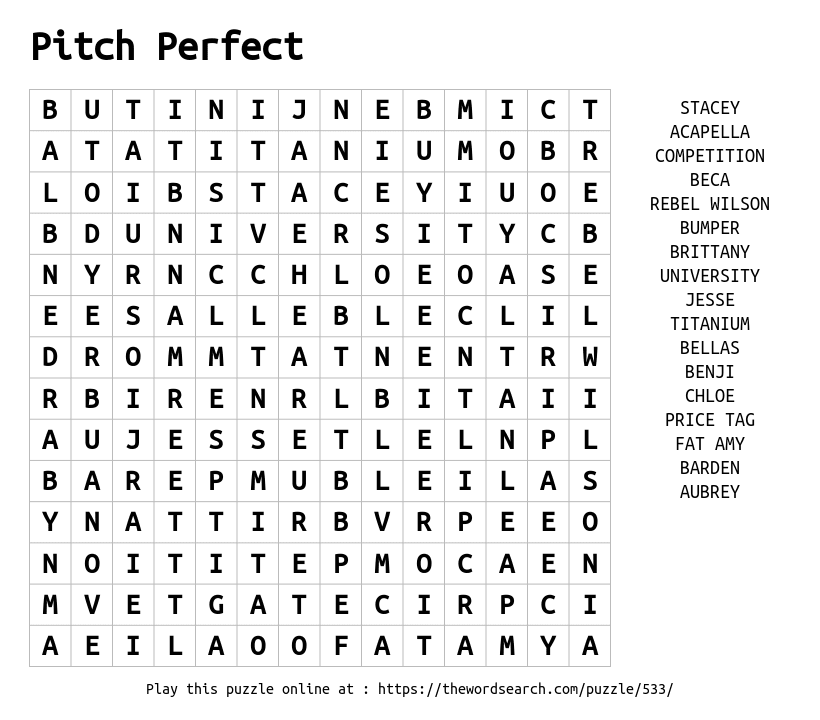 Pitch Perfect Word Search