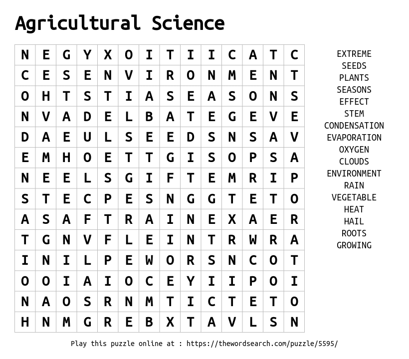 Download Word Search on Agricultural Science