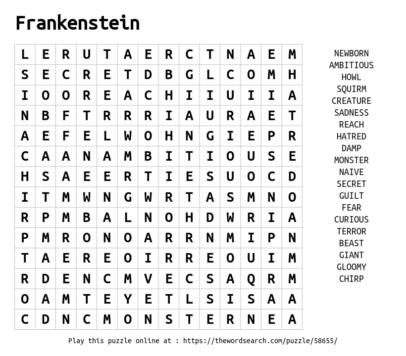 Download Word Search on Frankenstein