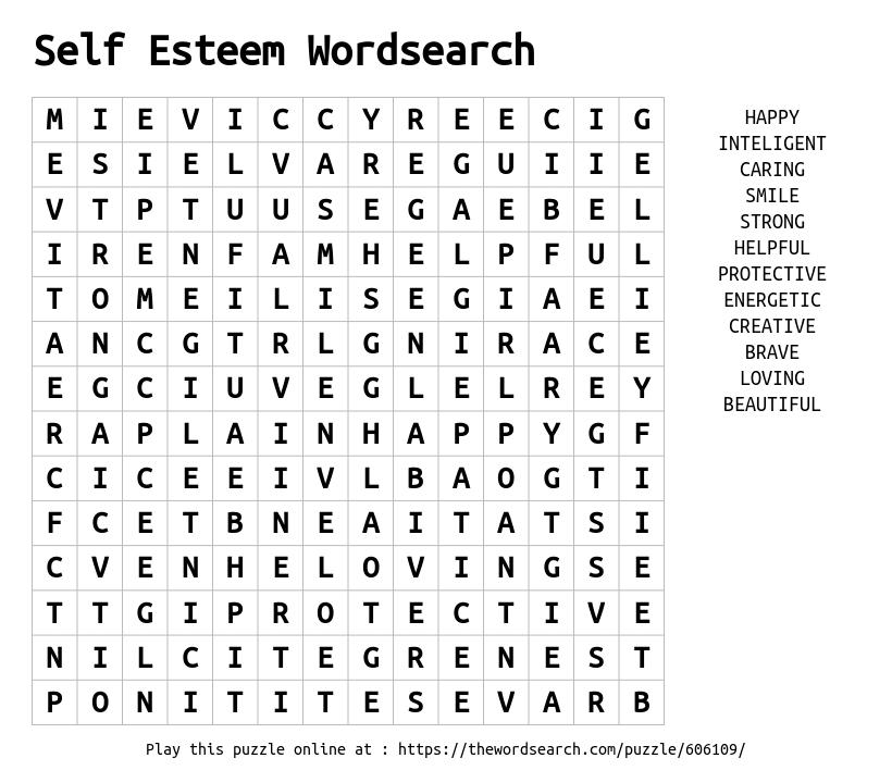 Self Esteem Wordsearch Word Search