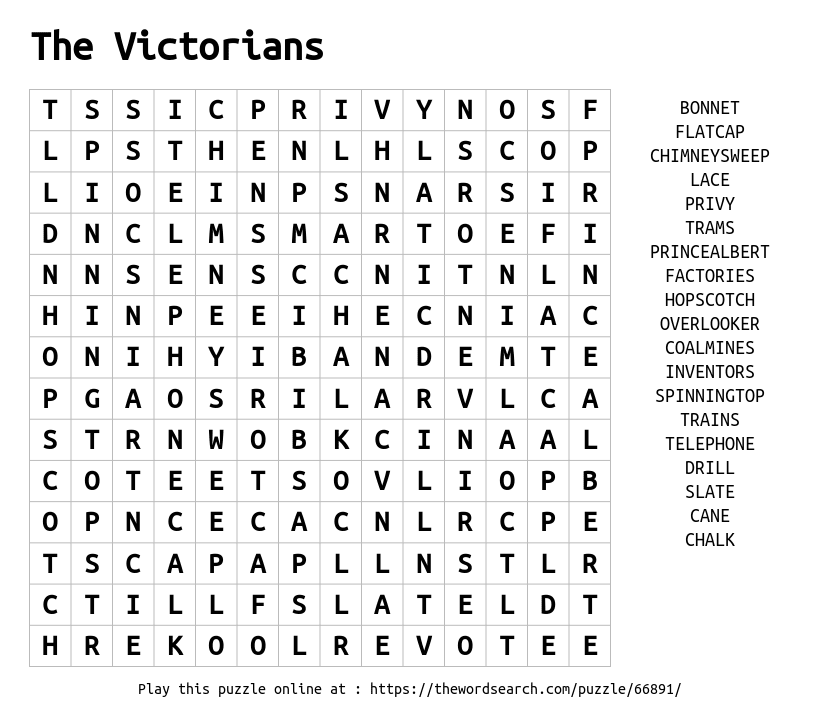 Download Word Search on The Victorians