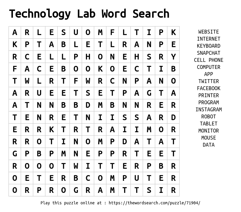 Download Word Search on Technology Lab Word Search