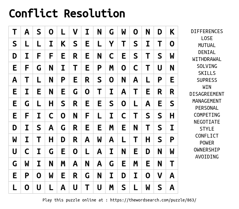 Download Word Search on Conflict Resolution