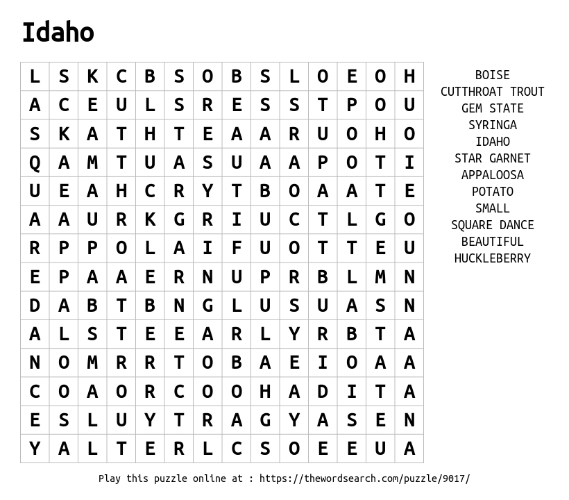 Download Word Search on Idaho