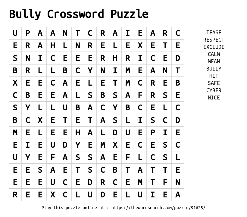 Bully Crossword Puzzle Word Search