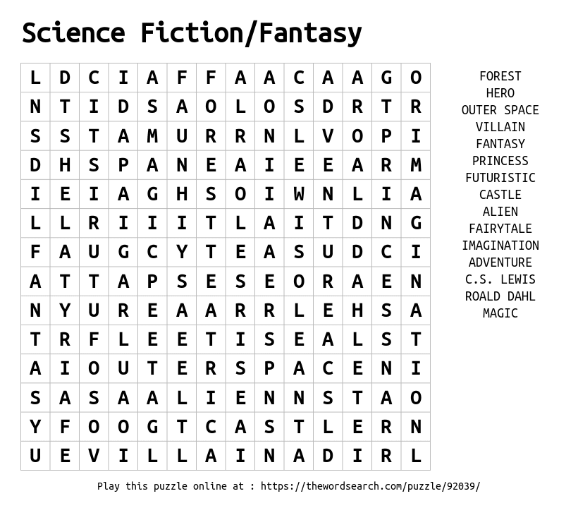 Science Fiction/Fantasy Word Search