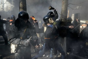 Ukranian Fascists Attacking Police in Kiev Photo Courtesy of www.rt.com