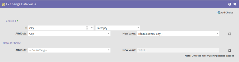 Marketo Change Data Value Flow to Update City to Lookup City