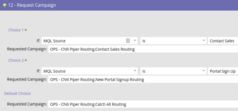 Marketo flow action to request the different lead routing campaigns