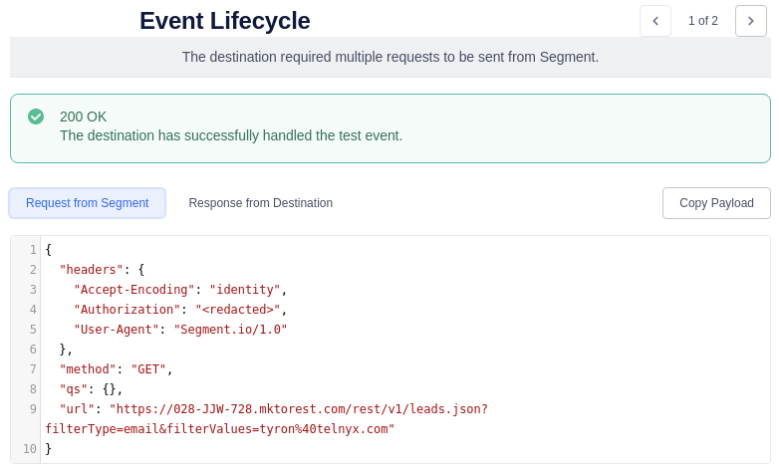 Segment Event Lifecycle First Segment Request