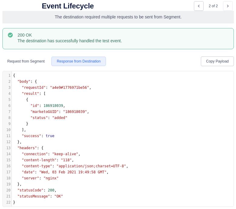 Segment Event Lifecycle Second Marketo Response