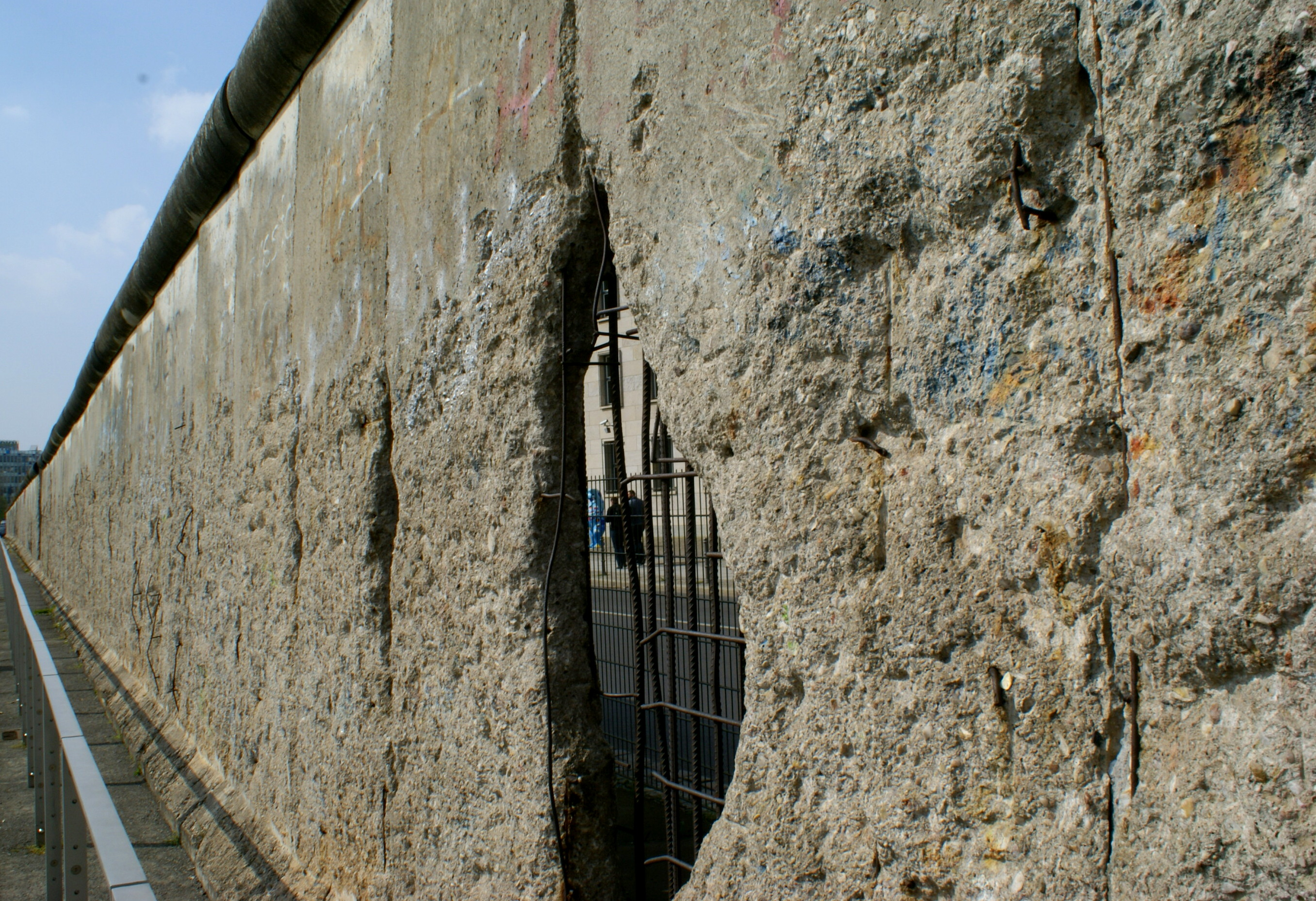 A portion of the Berlin Wall still standing on Niederkirchnerstrasse.